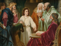 A FRAMED KPM HAUSMALER PAINTED PORCELAIN PLAQUE: JESUS IN THE TEMPLE WITH ELDERS Königliche