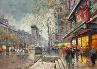 ANTOINE BLANCHARD (French, 1910-1988) Porte Saint Denis, Paris Oil on canvas 13-1/2 x 18-1/4 inch