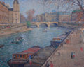 Fine Art - Painting, American, FRANÇOIS GALL (French, 1912-1987). La Seine au PontSaint-Michel. Oil on canvas laid on glass. 25-1/2 x 31-3/4inches (6...