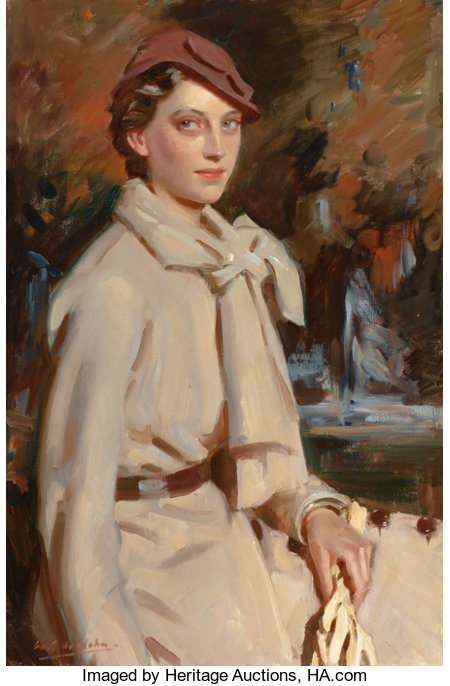 WILFRED GABRIEL DE GLEHN (British, 1870-1951)Jane Austen, Autumn, circa 1934Oil on canvas36 x 24 inches (91.4 x 61...