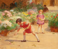 Paintings, VICTOR GABRIEL GILBERT (French, 1847-1933). Gathering Flowers. Oil on canvas. 18-1/4 x 21-3/4 inches (46.4 x 55.2 cm). S...