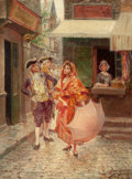 Latin American:Early 20th Century, ALONZO PEREZ (Spanish, Late 19th/Early 20th Century). ParisianGallantry, 1893. Oil on cradled panel. 13-3/4 x 10-1/2 in...