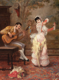 JULES JAMES ROUGERON (French, 1841-1880) The Dancer, 1876 Oil on canvas 24 x 18 inches (61.0 x 45