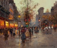 EDOUARD-LÉON CORTÈS (French, 1882-1969) Porte St. Denis, Paris Oil on canvas 18-1/4 x 21-3/4 inch