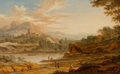 Fine Art - Painting, European:Antique  (Pre 1900), JOHANN CHRISTIAN VOLLERDT (German, 1708-1769). View inItaly, 1754. Oil on panel. 9 x 14-1/2 inches (22.9 x 36.8 cm).Si...