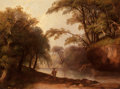 Fine Art - Painting, European:Antique  (Pre 1900), JAMES STARK (British, 1794-1859). Fisherman in a WoodedLandscape. Oil on panel. 17-3/4 x 23-3/4 inches (45.1 x 60.3cm)...