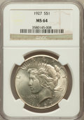 Peace Dollars: , 1927 $1 MS64 NGC. NGC Census: (972/121). PCGS Population(1704/292). Mintage: 848,000. Numismedia Wsl. Price for problemfr...