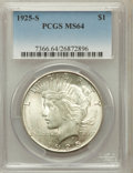 Peace Dollars: , 1925-S $1 MS64 PCGS. PCGS Population (1768/39). NGC Census:(1622/63). Mintage: 1,610,000. Numismedia Wsl. Price for proble...