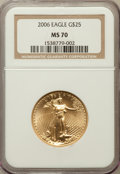 Modern Bullion Coins, 2006 G$25 Half-Ounce Gold Eagle MS70 NGC. NGC Census: (6333). PCGSPopulation (108)....