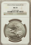 Modern Issues: , 1994-W $1 P.O.W. Silver Dollar MS70 NGC. NGC Census: (616). PCGSPopulation (400). Mintage: 54,790. Numismedia Wsl. Price f...