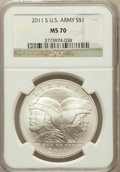 Modern Issues, 2011-S $1 U.S. Army MS70 NGC. NGC Census: (438). PCGS Population(228). Numismedia Wsl. Price for problem free NGC/PCGS co...
