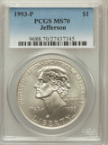 Modern Issues: , 1993-P $1 Jefferson Silver Dollar MS70 PCGS. PCGS Population (316).NGC Census: (597). Mintage: 266,927. Numismedia Wsl. Pr...