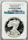 Modern Bullion Coins, 2012-W $1 One-Ounce Silver Eagle, First Releases PR69 Ultra CameoNGC. NGC Census: (4889/13373). PCGS Population (2573/4756...