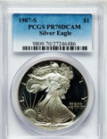 Modern Bullion Coins, 1987-S $1 Silver Eagle PR70 Deep Cameo PCGS. PCGS Population (521).NGC Census: (427). Mintage: 904,732. Numismedia Wsl. Pr...