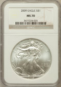 Modern Bullion Coins, 2009 $1 Silver Eagle MS70 NGC. NGC Census: (4538). PCGS Population(20744). Numismedia Wsl. Price for problem free NGC/PCG...