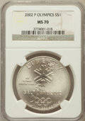 Modern Issues, 2002-P $1 Olympics Silver Dollar MS70 NGC. NGC Census: (706). PCGSPopulation (353). Numismedia Wsl. Price for problem fre...