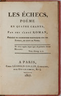Books:Literature Pre-1900, L'Abbe J. Joseph Therese Roman de Couvret. Les Echecs, Poem enQuatre Chants. Paris: Collin, 1807. 185 pages. Contem...