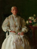 American, CHARLES COURTNEY CURRAN (American, 1861-1942). Portrait of a Lady with Flowers, 1906. Oil on canvas. 24 x 18 inches (61....