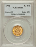Liberty Quarter Eagles, 1902 $2 1/2 MS63 PCGS. PCGS Population (897/1224). NGC Census:(688/1249). Mintage: 133,500. Numismedia Wsl. Price for prob...