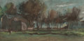 Fine Art - Work on Paper:Drawing, JOSEPH FRANK CURRIER (American, 1843-1909). Trees by aVillage. Pastel on paper. 6-3/4 x 13-3/4 inches (17.1 x 34.9cm) ...