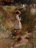 Fine Art - Painting, American:Antique  (Pre 1900), FRANK HECTOR TOMPKINS (American, 1847-1922). Child PickingFlowers, 1884. Oil on canvas. 23-1/2 x 17-3/4 inches (59.7 x...