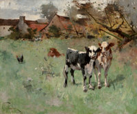 HARRY IVES THOMPSON (American, 1840-1906) Two Cows in a Pasture Oil on canvas 18-1/4 x 21-3/4 inc