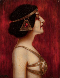 ERNST SEIDL (GERMAN, Late 19th/Early 20th Century) Salome (Woman in Profile in Oriental Jugendstil Costume)