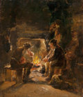 Fine Art - Painting, American:Antique  (Pre 1900), WALTER SHIRLAW (American, 1838-1909). By the Fire, 1876. Oilon board. 18-1/2 x 15-3/4 inches (47.0 x 40.0 cm). Signed a...