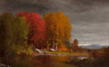 Paintings, JUNIUS RALSTON SLOAN (American, 1827-1900). Hudson River Landscape in Autumn, 1871. Oil on board. 4-3/4 x 7-1/2 inches (...