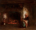 Fine Art - Painting, American:Antique  (Pre 1900), PLATT POWELL RYDER (American, 1821-1896). By the Fire. Oilon canvas. 14 x 16-3/4 inches (35.6 x 42.5 cm). Signed lower ...