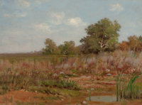 PETER EDWARD RUDELL (Canadian/American, 1854-1899) Edge of a Marsh Oil on canvas board 16 x 22 in