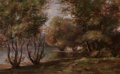 Paintings, EDGAR KINSLEY (American, Late 19th Century). Sketch at Fresh Pond, 1877. Oil on board. 10 x 16 inches (25.4 x 40.6 cm). ...