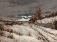 EDWARD GRENET (French, 1857-1922) Winter Landscape, 1882 Oil on canvas 12 x 16 inches (30.5 x 40