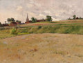 Fine Art - Painting, American:Antique  (Pre 1900), EDWIN D. CONNELL (American, 1859-1959). Summer Landscape withDistant Church. Oil on canvas. 18 x 24 inches (45.7 x 61.0...