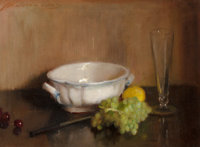 ADELAIDE COLE CHASE (American, 1868-1944) Still Life with Grapes, Lemon and Cherries Oil on canvas