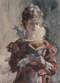 Fine Art - Painting, American:Antique  (Pre 1900), JULIUS L. STEWART (American, 1855-1919). Portrait of a WomanReading. Watercolor on paper (sight). 6-1/2 x 4-1/2 inches ...