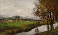 Fine Art - Painting, American:Antique  (Pre 1900), JOSEPH FRANK CURRIER (American, 1843-1909). Canal at Dachau(Canal in Bavaria), circa 1890s. Oil on canvas. 22 x 35 inch...