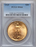 Saint-Gaudens Double Eagles: , 1925 $20 MS66 PCGS. PCGS Population (1065/5). NGC Census: (559/19).Mintage: 2,831,750. Numismedia Wsl. Price for problem f...