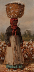 American:Portrait & Genre, WILLIAM AIKEN WALKER (American, 1838-1921). Woman in CottonField. Oil on panel. 8 x 4 inches (20.3 x 10.2 cm). Signed l...
