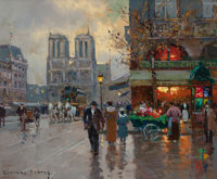 EDOUARD-LÉON CORTÈS (French, 1882-1969) Notre Dame, Place Saint Michel, circa 1960 Oil on canvas