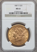 Liberty Double Eagles: , 1887-S $20 MS61 NGC. NGC Census: (324/215). PCGS Population(214/420). Mintage: 283,000. Numismedia Wsl. Price for problem ...