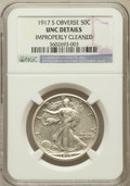 Walking Liberty Half Dollars, 1917-S 50C Obverse -- Improperly Cleaned -- NGC Details. Unc....