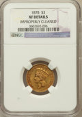 Three Dollar Gold Pieces: , 1878 $3 -- Improperly Cleaned -- NGC Details. XF. NGC Census:(27/5034). PCGS Population (47/5499). Mintage: 82,304. Numism...