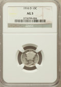 Mercury Dimes: , 1916-D 10C AG3 NGC. NGC Census: (0/1339). PCGS Population(1913/3460). Mintage: 264,000. Numismedia Wsl. Price for problem...