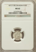 Seated Half Dimes: , 1872-S H10C Mintmark Below Bow MS62 NGC. NGC Census: (89/515). PCGSPopulation (84/434). Mintage: 837,000. Numismedia Wsl. ...
