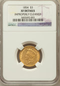 Three Dollar Gold Pieces: , 1854 $3 -- Improperly Cleaned -- NGC Details. XF. NGC Census:(78/3578). PCGS Population (84/2754). Mintage: 138,618. Numis...