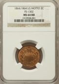 Two Cent Pieces, 1864/1864 2C Large Motto, FS-1302 MS64 Red and Brown NGC. NGCCensus: (546/673). PCGS Population (971/314). Mintage: 19,847...