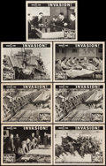"""Movie Posters:Documentary, The March of Time (20th Century Fox, 1943). Lobby Cards (7) (11"""" X 14"""") Volume 9, Issue 11 -- """"Invasion!"""" Documentary.. ... (Total: 7 Items)"""