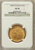 Indian Eagles: , 1908 $10 No Motto AU58 NGC. NGC Census: (117/504). PCGS Population(121/527). Mintage: 33,500. Numismedia Wsl. Price for pr...