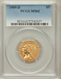 Indian Half Eagles: , 1909-D $5 MS62 PCGS. PCGS Population (9109/12455). NGC Census:(9756/10613). Mintage: 3,423,560. Numismedia Wsl. Price for ...